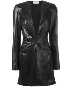 Saint Laurent | Belted Leather Mini Dress Size