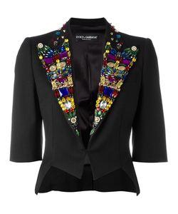 Dolce & Gabbana | Rhinestone Lapel Blazer 40 Silk/Spandex/Elastane/Virgin