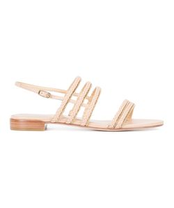Stuart Weitzman | Line Drive Sandals 6.5 Leather/Metal Other/Ermine