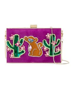 Gedebe | Cactus And Monkey Patch Clutch Metal/Leather