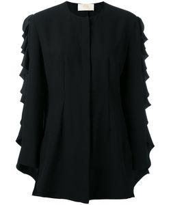 Sara Battaglia   Ruffled Long Sleeved Blouse Size 44