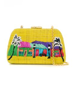 SERPUI | Embroidered Straw Clutch