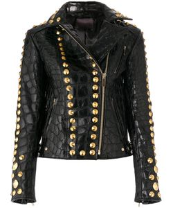 Amen | Textured And Studded Leather Jacket Women Sheep