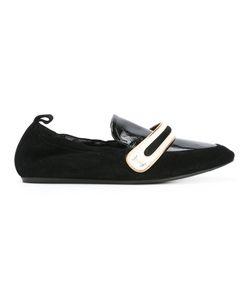 Lanvin | Stripe Panel Ballerina Shoes Size Calf Leather/Leather/Foam