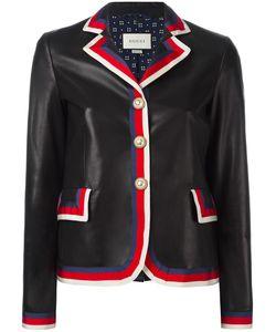 Gucci   Sylvie Web Trim Leather Jacket 46 Lamb
