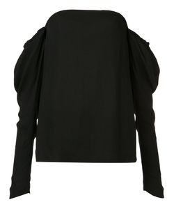 Vera Wang | Draped Off-Shoulder Top 12 Silk/Spandex/Elastane/Viscose