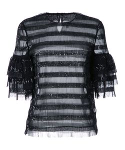 Huishan Zhang | Sequined Striped Blouse 12 Polyester