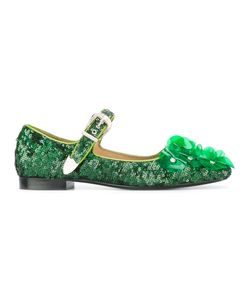 Toga | Sequined Ballerina Shoes 37 Calf Leather/Vinyl/Sequin/Leather
