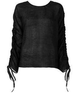 Isabel Benenato | Drawstring Sleeves Sheer Blouse 44
