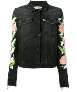 OFF-WHITE | Rose Embroidered Denim Jacket