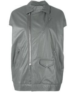 Rick Owens | Short Sleeve Biker Jacket 38 Leather/Cupro/Viscose