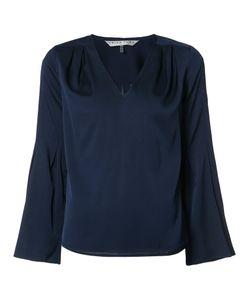 Trina Turk   V-Neck Blouse Large Silk/Spandex/Elastane