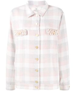 Natasha Zinko | Pearl Embellished Check Shirt 38 Polyester/Polyacrylic/Other