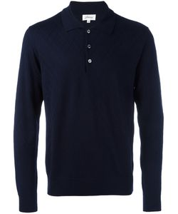 Brioni | Embossed Zig Zag Polo Shirt 58 Silk/Cashmere/Wool