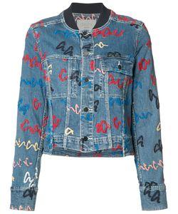 Grey Jason Wu   Printed Denim Jacket Size 4
