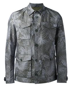 Herno | Leaf Print Shirt Jacket 52 Cotton/Linen/Flax/Polyester