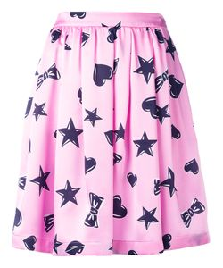 Moschino | Heart Print Skater Skirt 46 Silk/Acetate/Viscose