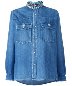 FORTE COUTURE | Embellished Collar Denim Shirt Medium Cotton/Metal/Glass