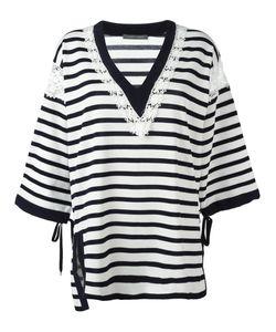Alberta Ferretti | Striped V-Neck Jumper 40 Cotton/Acetate/Silk/Other Fibers