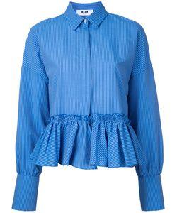 MSGM | Полосатая Рубашка С Оборками На Подоле