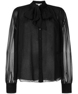 Diane Von Furstenberg | Pussybow Translucent Blouse Womens Size 6 Silk/Polyester