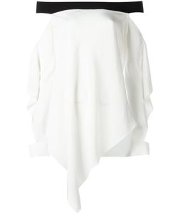 Roland Mouret | Draped Off Shoulder Top 10 Silk