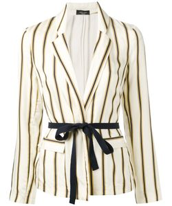 Roberto Collina | Striped Belted Blazer