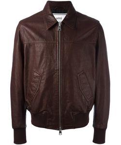 Ami Alexandre Mattiussi | Leather Zipped Jacket Large Leather/Acetate