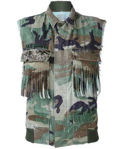 As65   Fringed Pockets Military Waistcoat Small Cotton/Nylon