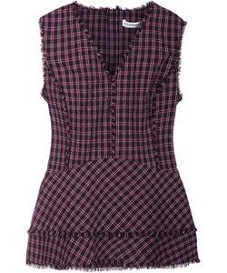 Altuzarra | Plaid V-Neck Blouse 38 Polyester/Cotton/Spandex/Elastane