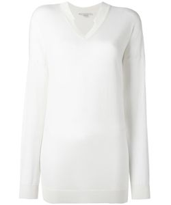 Stella Mccartney | Ridged V-Neck Jumper 42 Silk/Virgin Wool