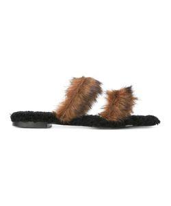 Avec Modération | Strappy Flat Sandals 37 Leather/Rubber/Artificial Fur
