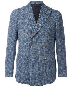 BORRELLI | Double-Breasted Blazer 48 Cotton/Linen/Flax/Polyester/Cupro