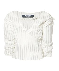 JACQUEMUS | Striped Ruffled-Sleeve Blouse 42
