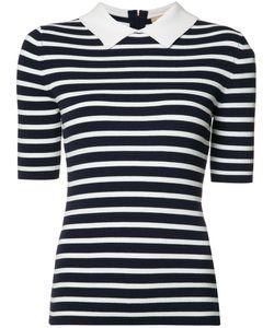 Michael Kors   Breton Stripe Collar Top Xs Viscose/Polyester