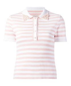 Natasha Zinko | Embellished Collar Polo Shirt Small Ceramic/Polyester/Viscose