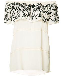 Nicole Miller   Embroide Off-Shoulder Blouse Large Silk