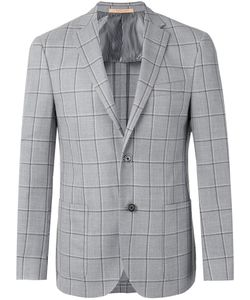 Corneliani | Checked Button Front Blazer Size 54