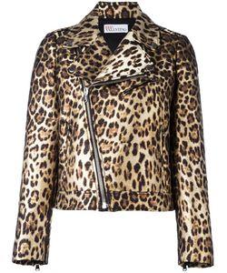 Red Valentino | Leopard Print Biker Jacket 46 Polyester/Cotton/Polyamide/Acetate