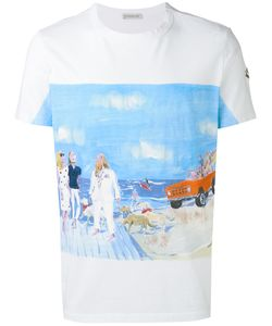 Moncler | Beach Scene Print And Embroidery T-Shirt Size Medium