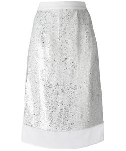 Jil Sander | Sequin Layer Skirt 38 Polyester/Polyamide/Viscose/Silk