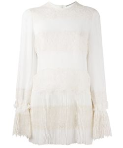 Ermanno Scervino | Lace Panel Pleated Blouse 38 Silk