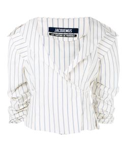 JACQUEMUS | Pinstripe Wrap Jacket 34 Cotton/Linen/Flax