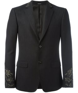 Alexander McQueen | Embroide Pinstriped Blazer 46 Cotton/Wool/Viscose