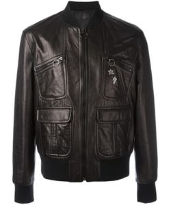 Neil Barrett | Pins Leather Bomber Jacket Small Cupro/Lamb