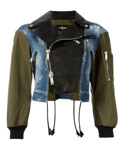 Dsquared2 | Triple Material Bomber Jacket 40 Calf Leather/Cotton/Spandex/Elastane/Polyester