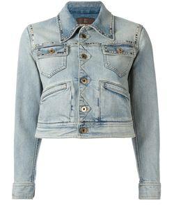 Roberto Cavalli | Printed Back Denim Jacket 44 Cotton/Spandex/Elastane/Silk