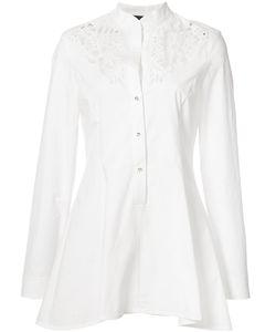 Josie Natori | Embroide Peplum Shirt Xs Cotton/Spandex/Elastane
