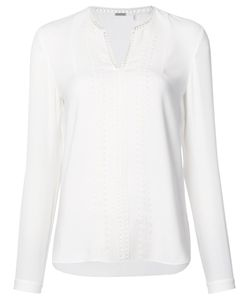 Elie Tahari | Embroide Trim Blouse Medium Triacetate/Polyester
