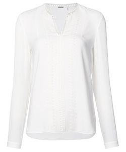 Elie Tahari | Embroide Trim Blouse Medium Triacetate/Polyester